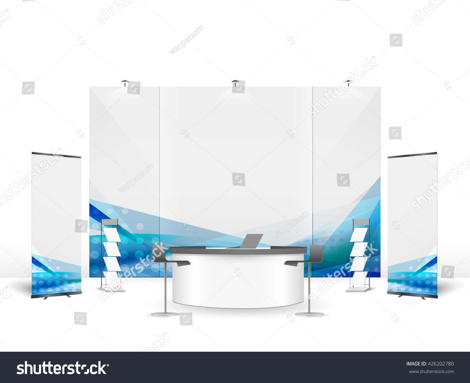 Exhibition Stand Design Vector : White creative exhibition stand design booth stock vector