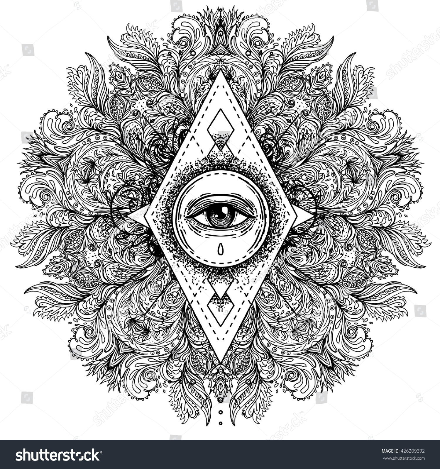 All Seeing Eye Ornate Round Mandala Stock Vector