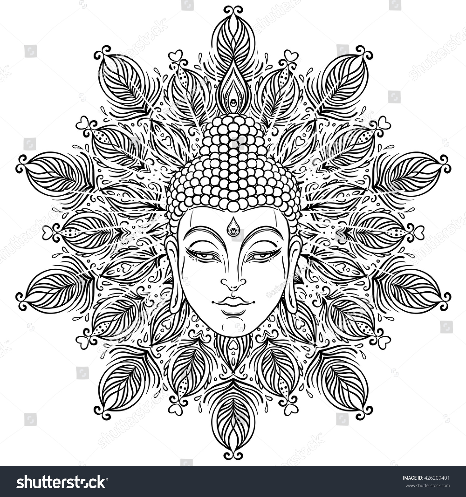 buddha face over ornate mandala round stock vector 426209401