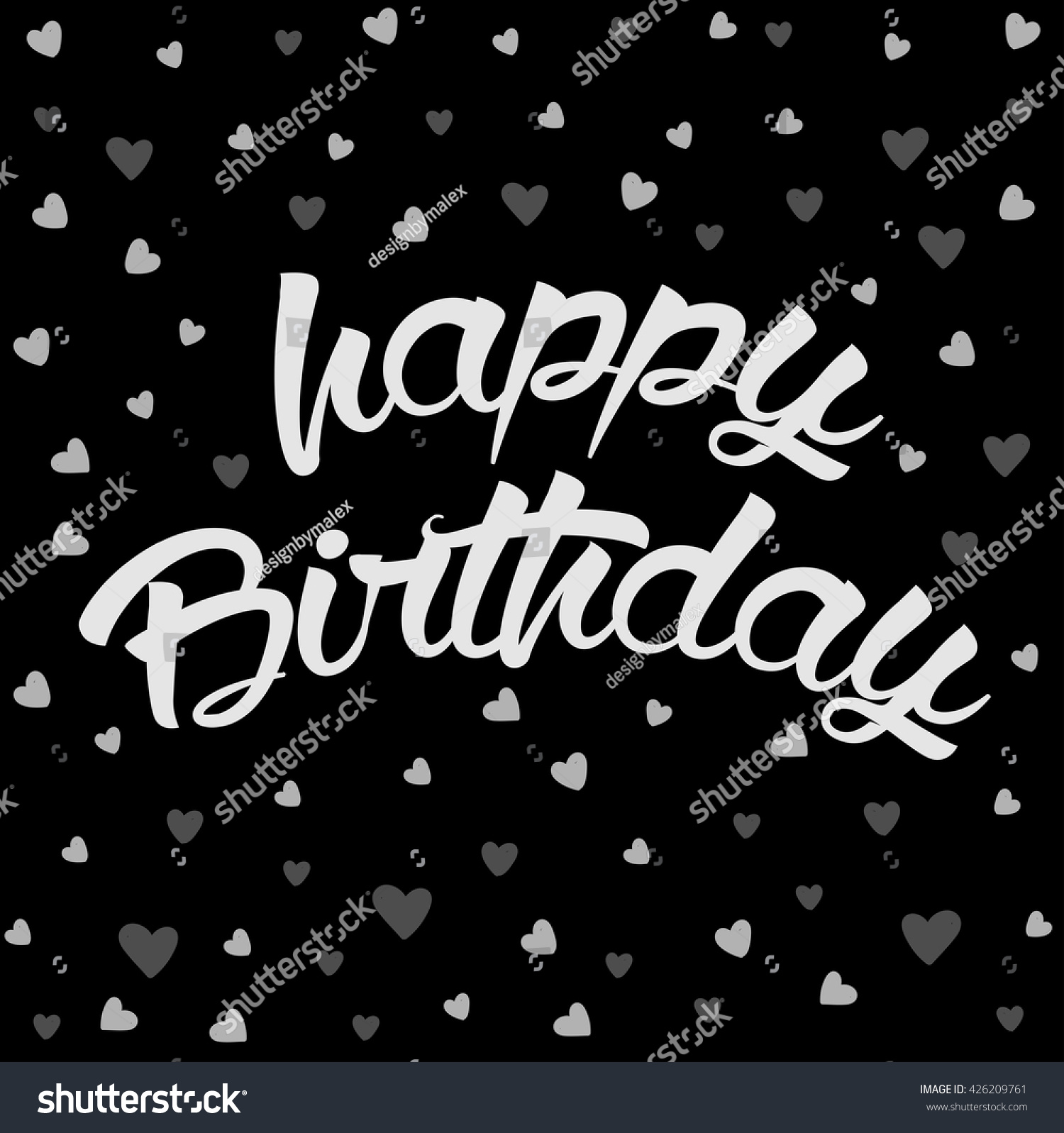 Happy birthday lettering card hearts gothic stock vector 426209761 happy birthday lettering card with hearts gothic birthday card kristyandbryce Images