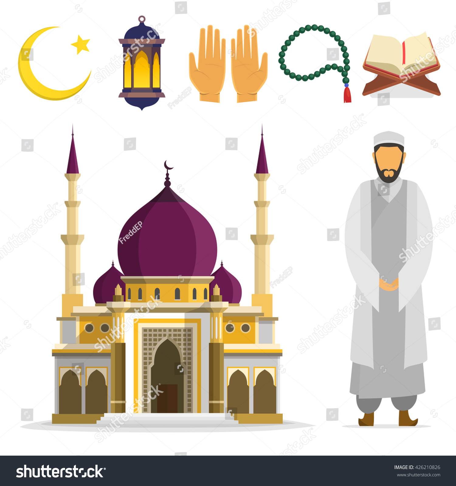 Set Islamic Religious Symbols Ritual Objects Stock Vector Royalty