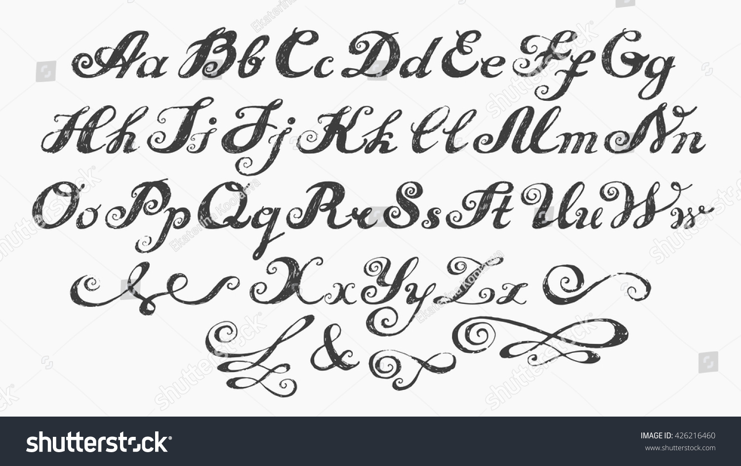 Calligraphy alphabet typeset lettering capital and lower