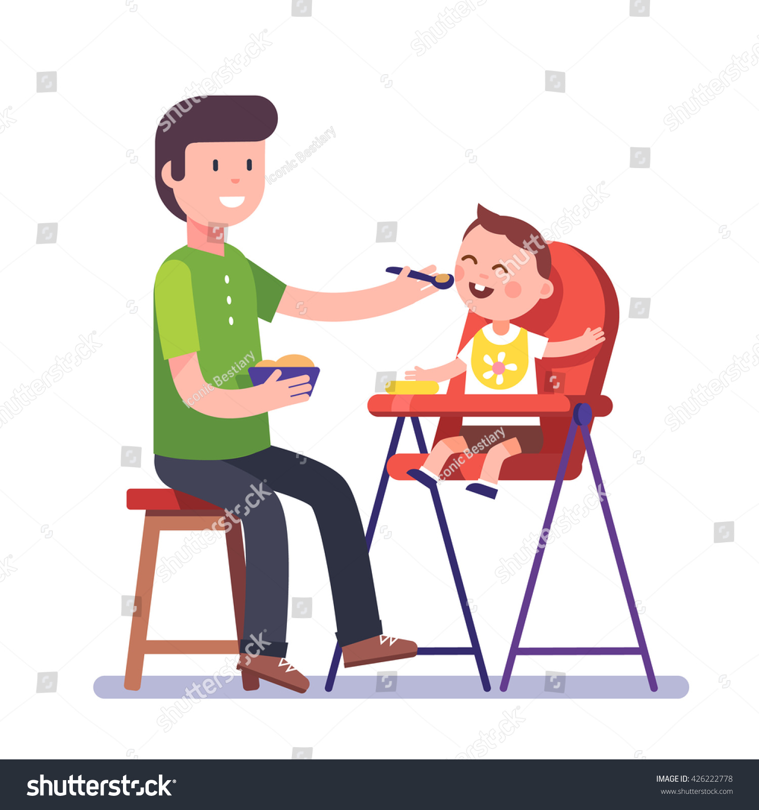 Father Feeding His Baby Son Sitting Stock Vector