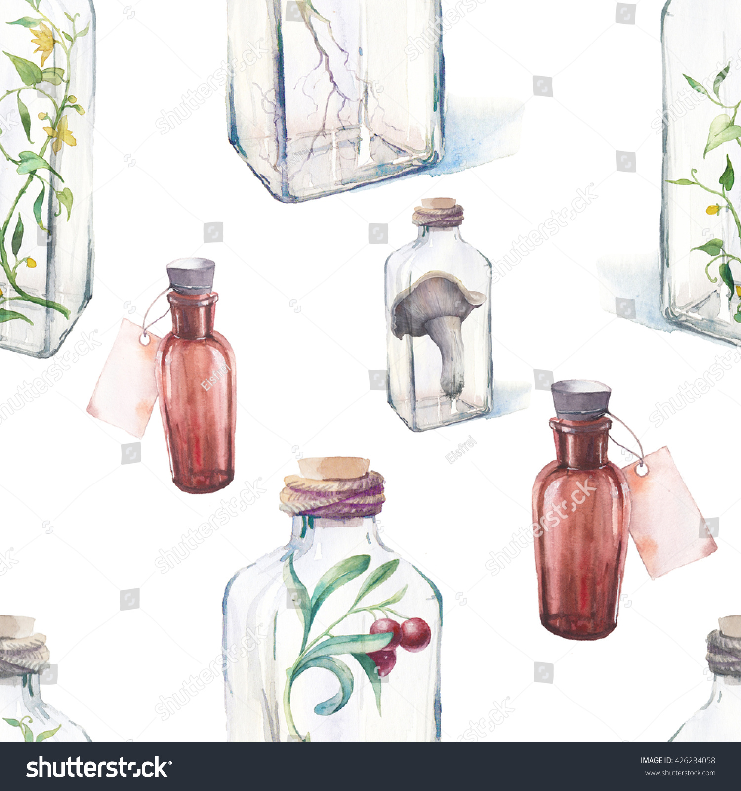 Watercolor vintage seamless pattern glass bottles stock illustration watercolor vintage seamless pattern with glass bottles and plants hand painted repeating texture with antique biocorpaavc Gallery