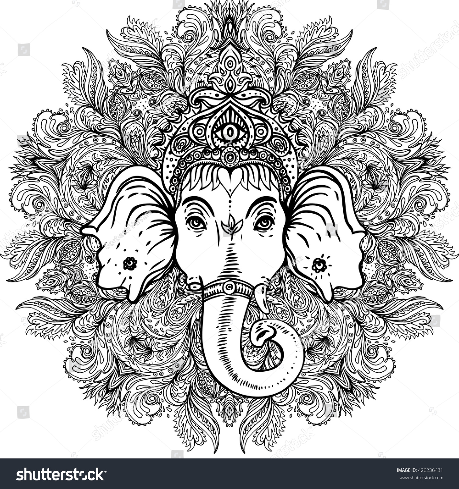 hindu lord ganesha over ornate mandala stock vector 426236431