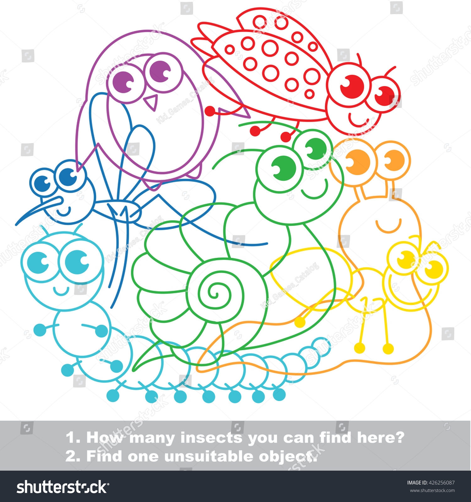 Cute Small Insects Simple Mishmash Colorful Stock Vector (2018 ...