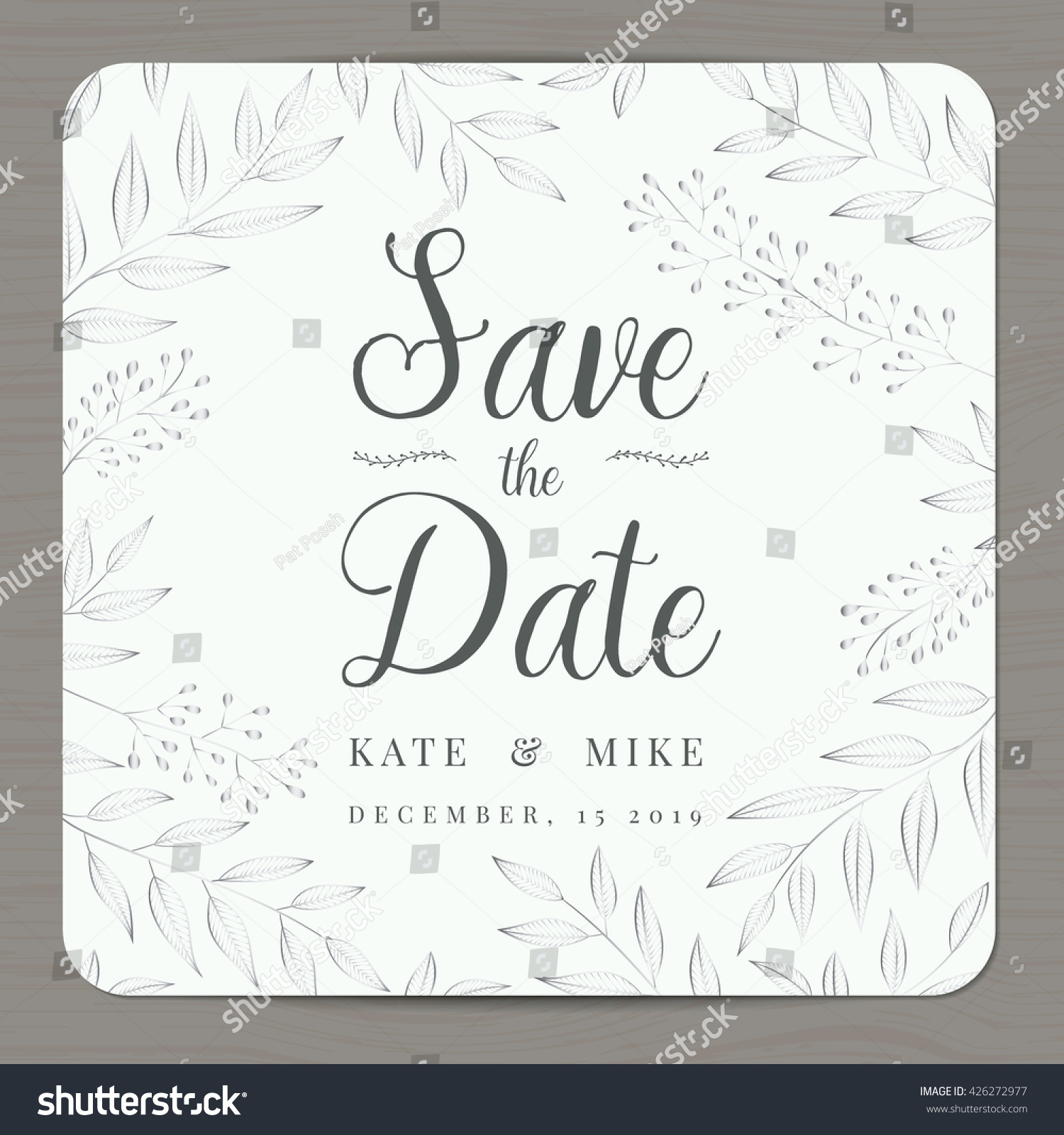 Save Date Wedding Invitation Card Template Stock Vector HD (Royalty ...