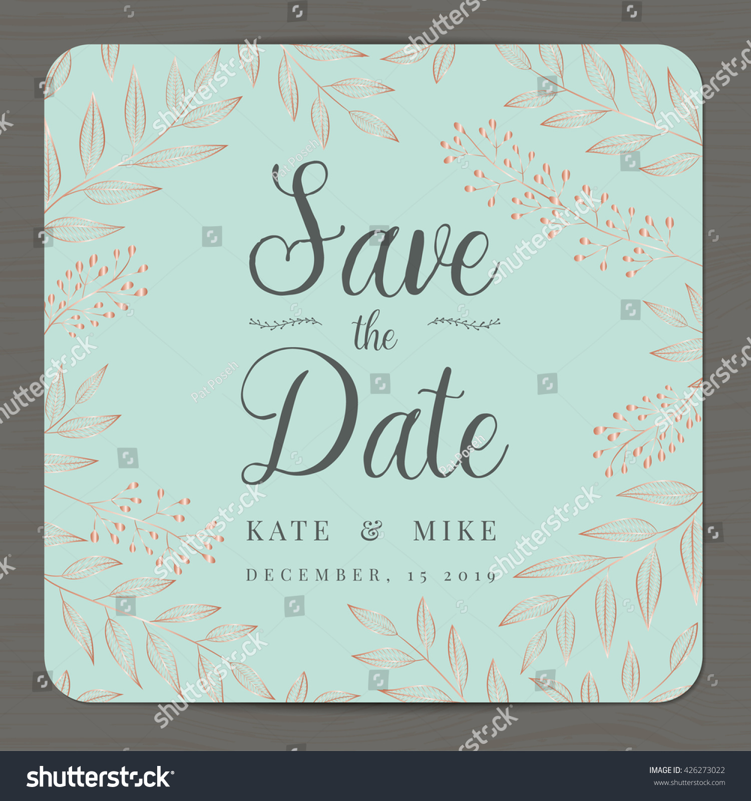 Save Date Wedding Invitation Card Template Stock Vector 426273022 ...