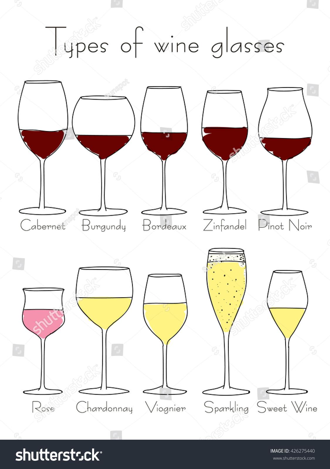 vector types wine glasses handdrawn stock vector 426275440. Black Bedroom Furniture Sets. Home Design Ideas