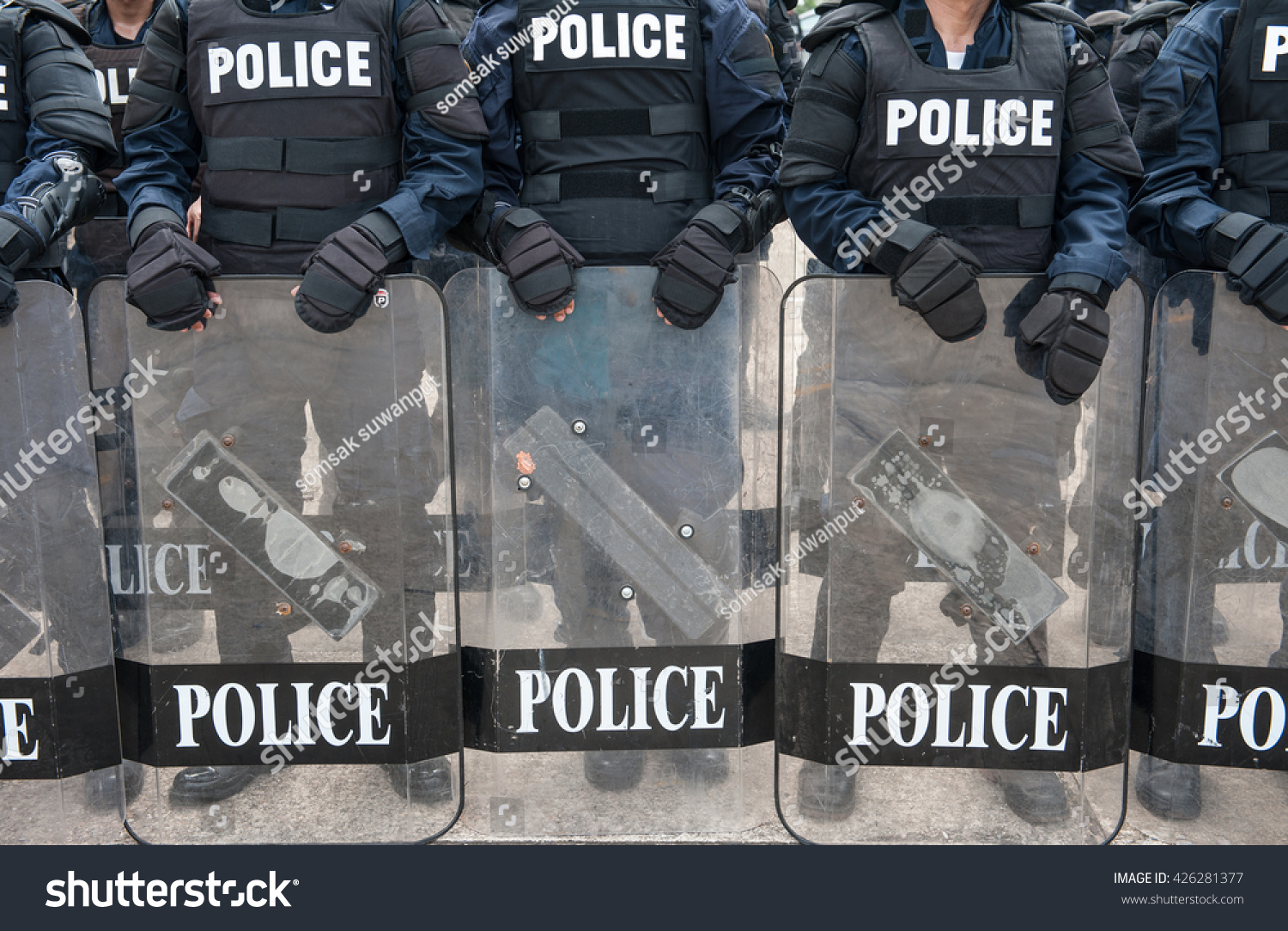 Riot Police Used Shields Batons Tactical Stock Photo ...
