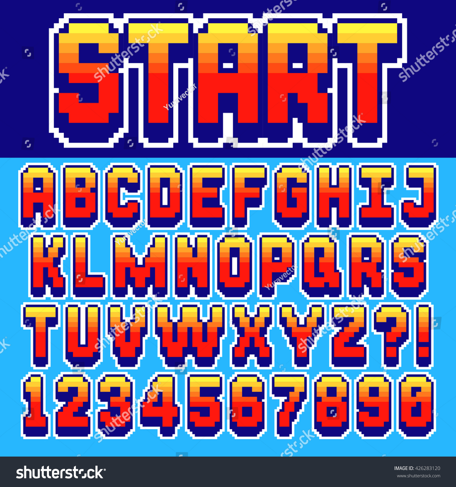 Pixel Retro Font Video Computer Game Stock Vector