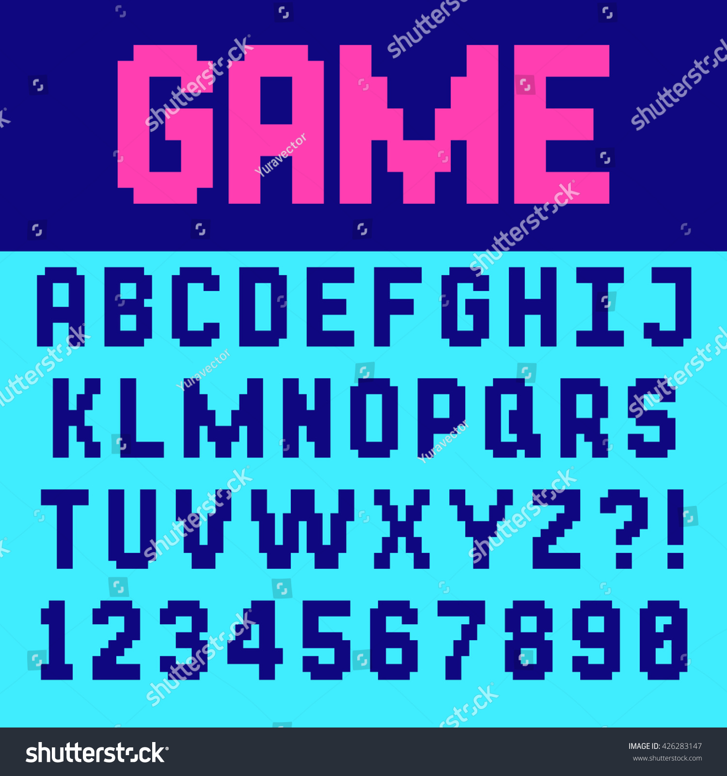 Pixel Retro Font Video Computer Game Stock Vector