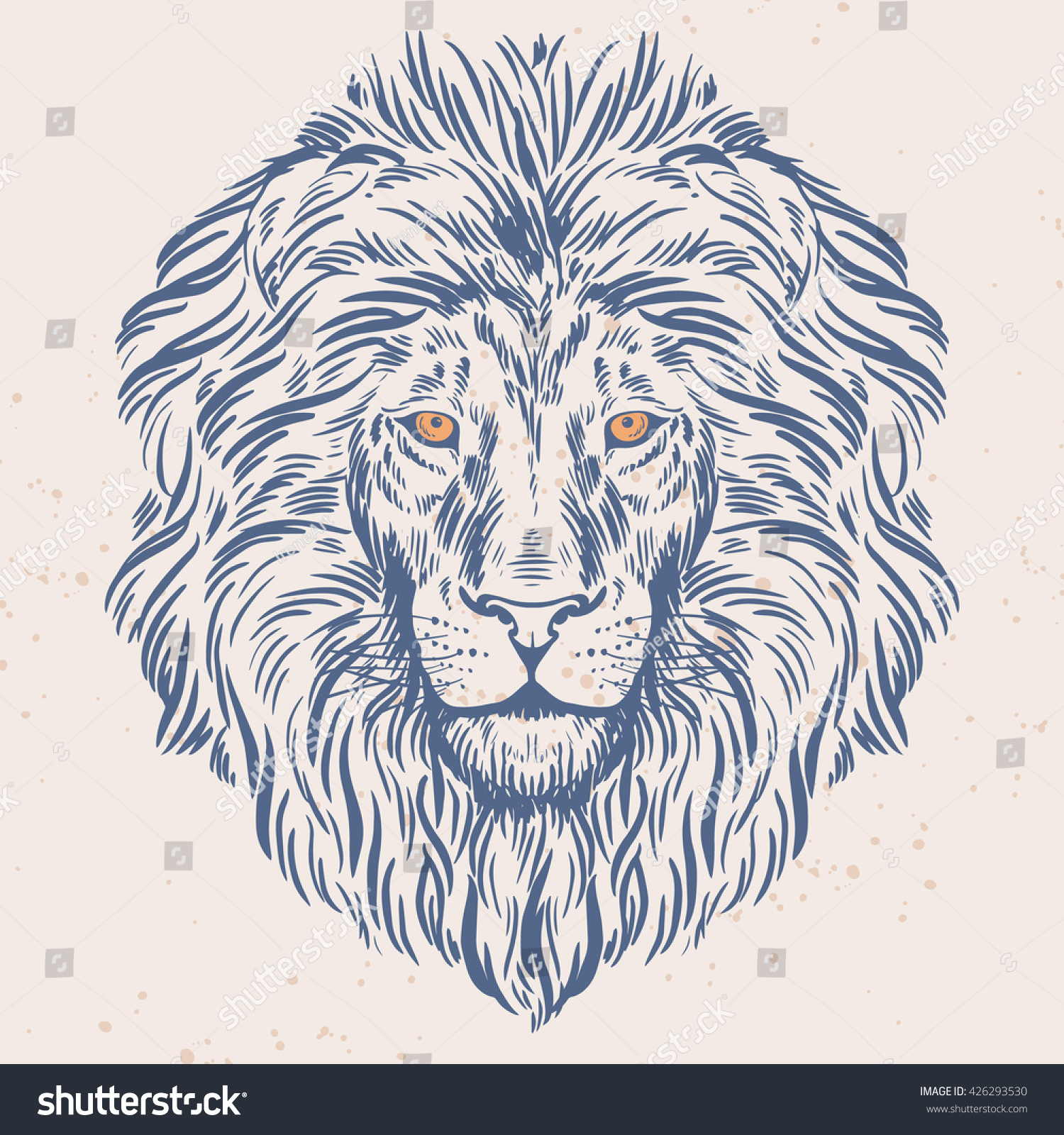 Hand drawn lion head isolated Banner poster card t-shirt design template Vector illustration