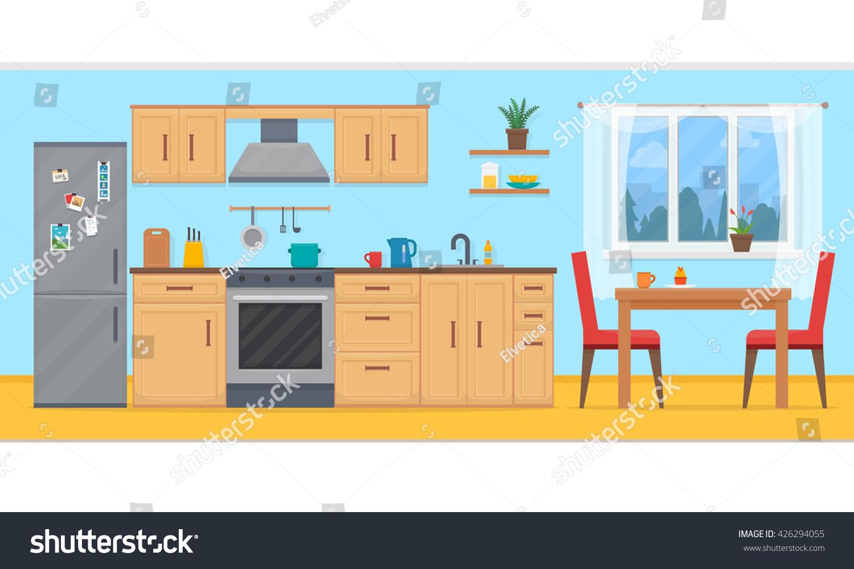 Cozy Kitchen Kitchen Furniture Cozy Kitchen Interior Table Stock Vector