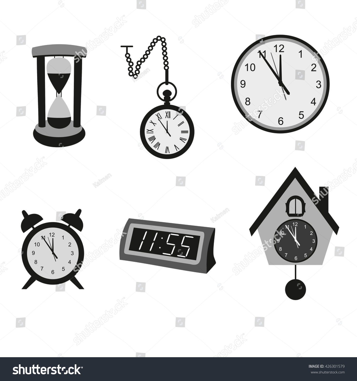 Different kinds clocks black clocks watches stock vector 426301579 different kinds of clocks black clocks and watches icons different types of clocks amipublicfo Choice Image