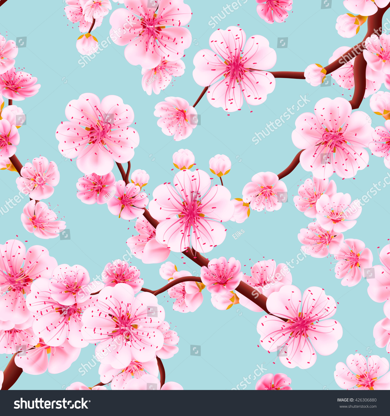 Seamless background pattern pink sakura blossom stock vector seamless background pattern of pink sakura blossom or japanese flowering cherry symbolic of spring in a dhlflorist Images