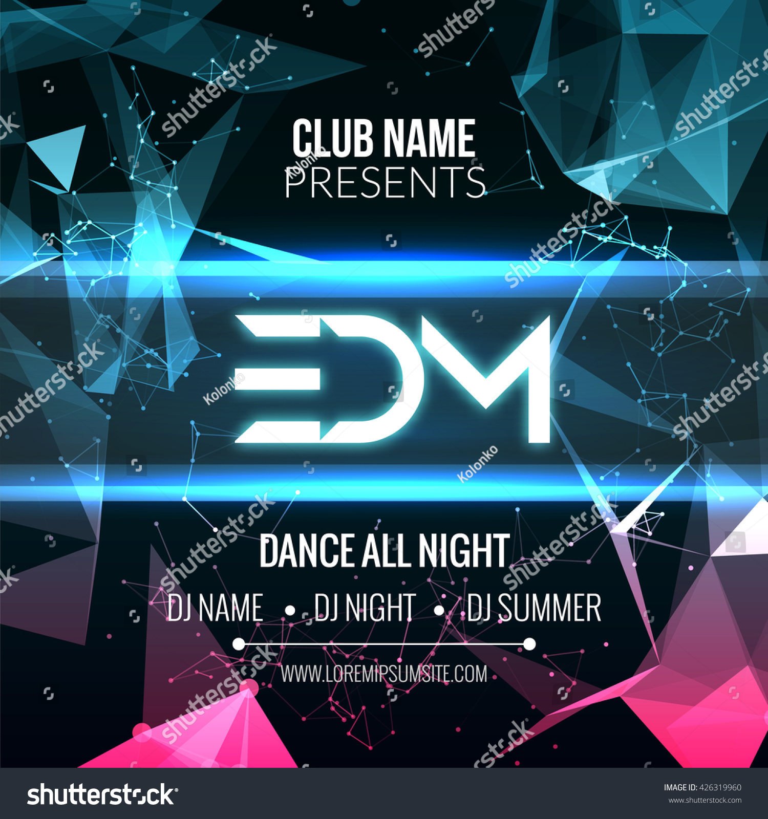 modern edm music party template dance stock vector 426319960 shutterstock. Black Bedroom Furniture Sets. Home Design Ideas