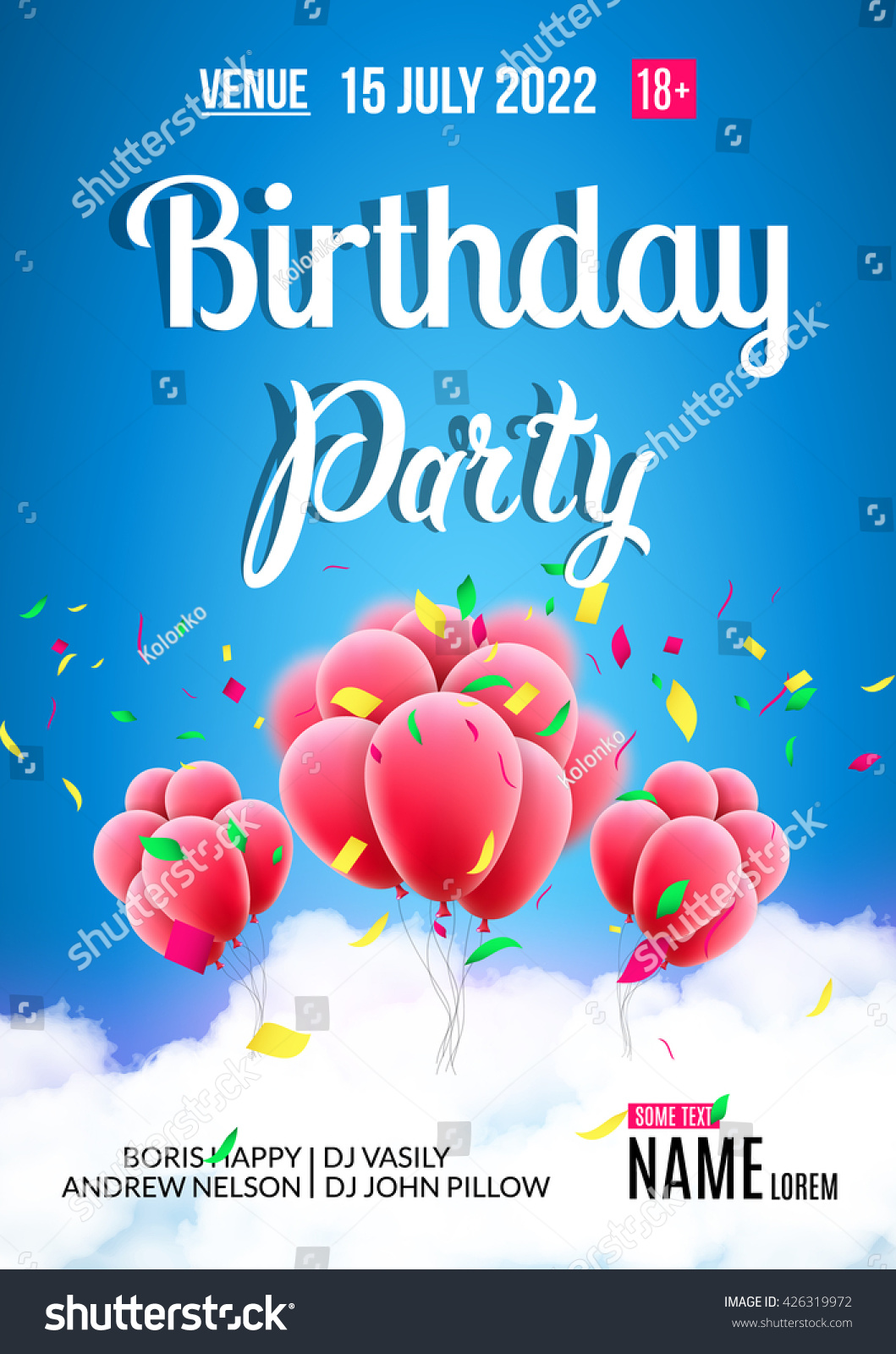 Birthday party poster Sky clouds happy birthday balloons with confetti