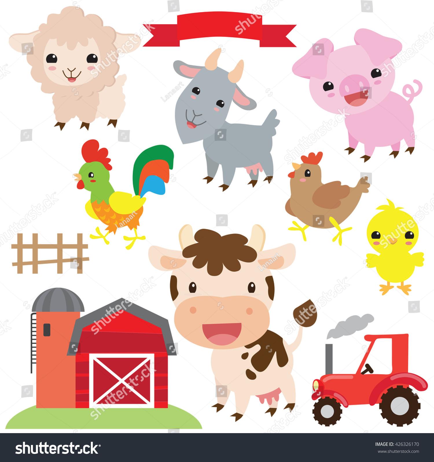 Farm animals vector illustration