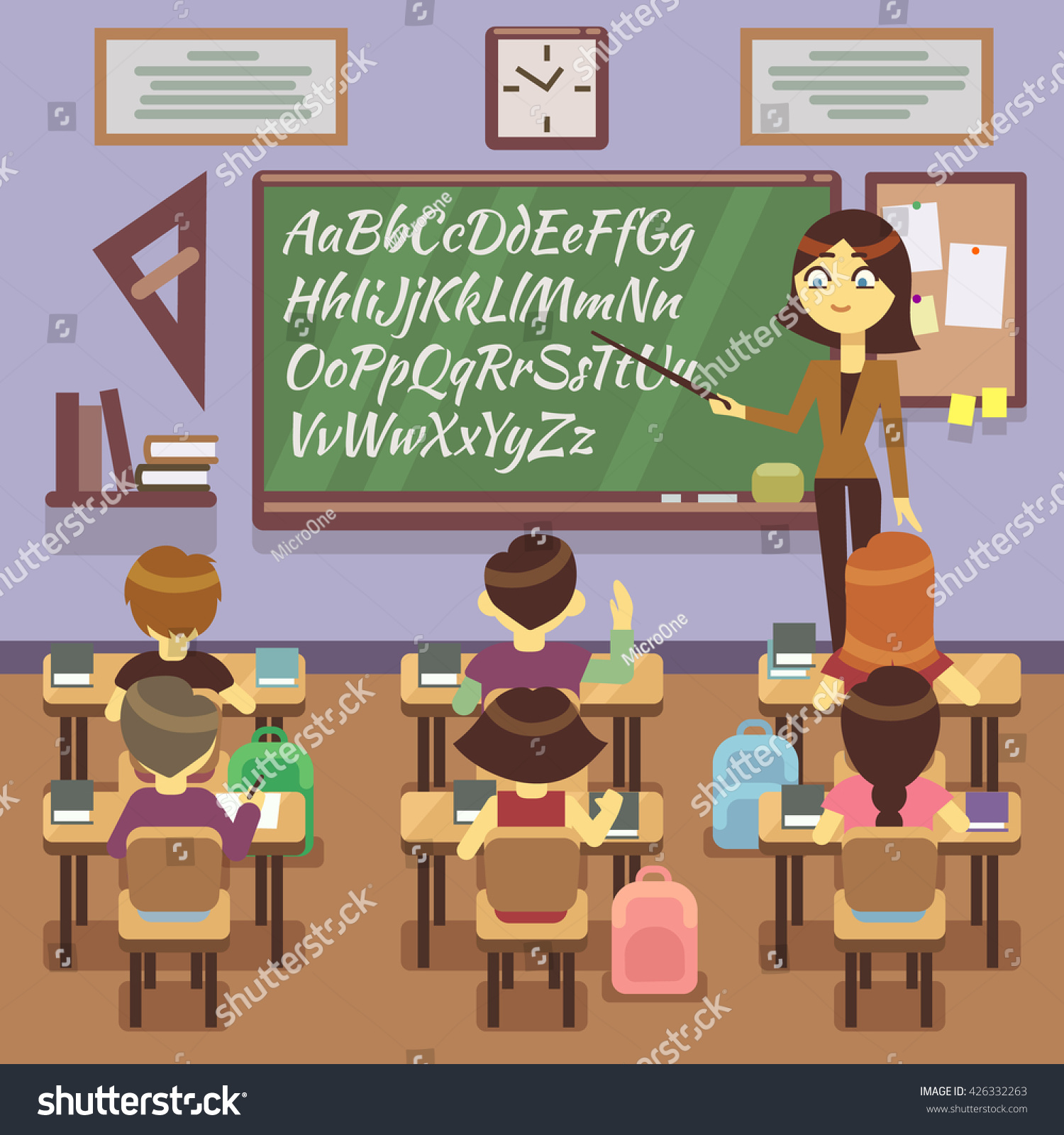 Modern Classroom Vector ~ School lesson in classroom with child pupils and