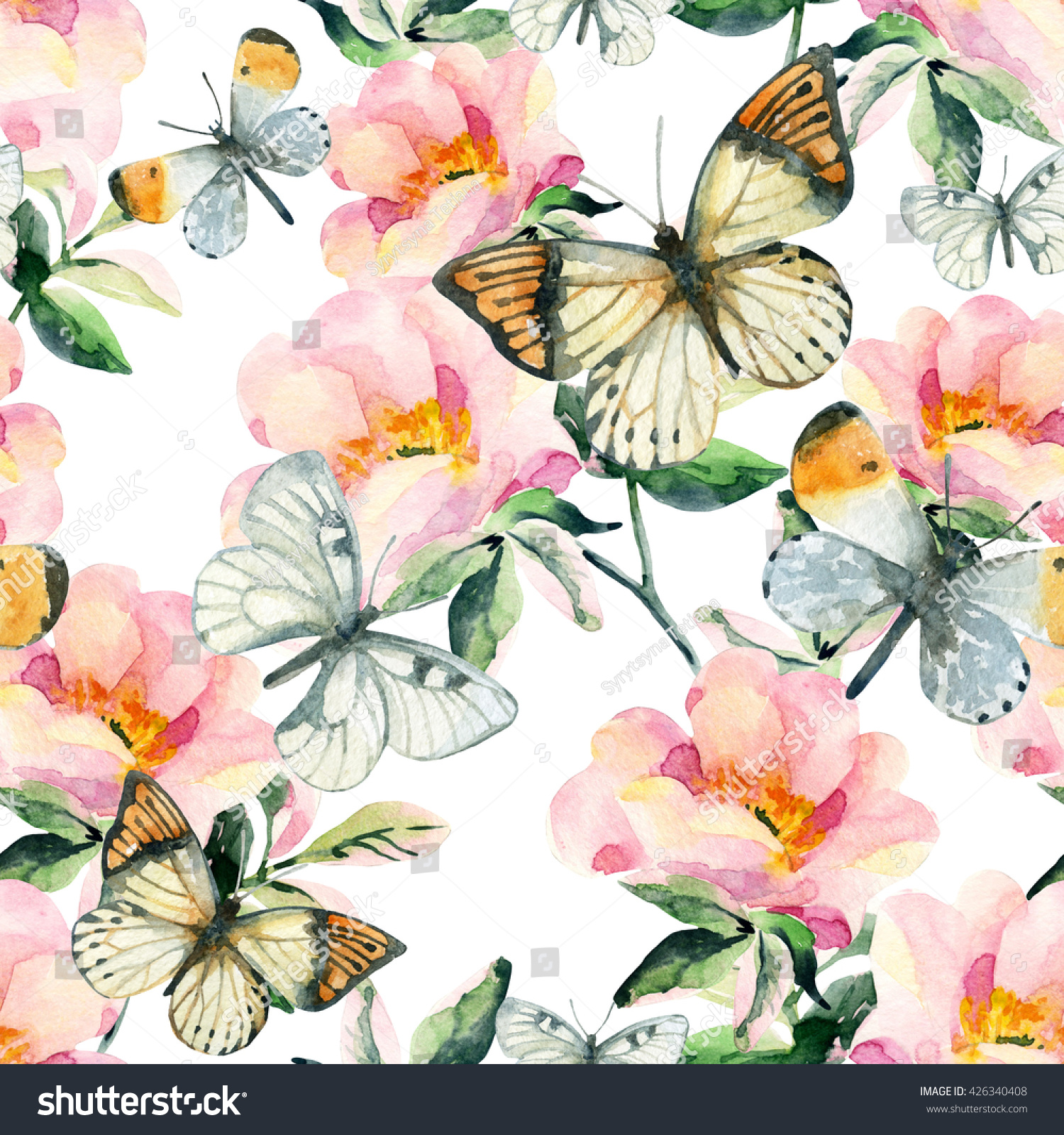 watercolor briar flowers butterfly seamless pattern stock