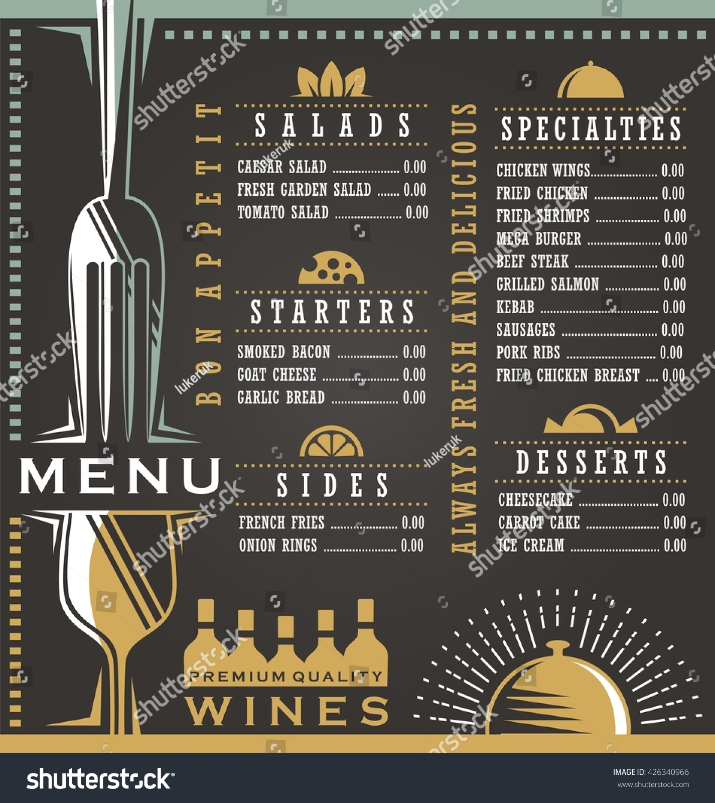 Wine food menu design concept restaurant stock vector