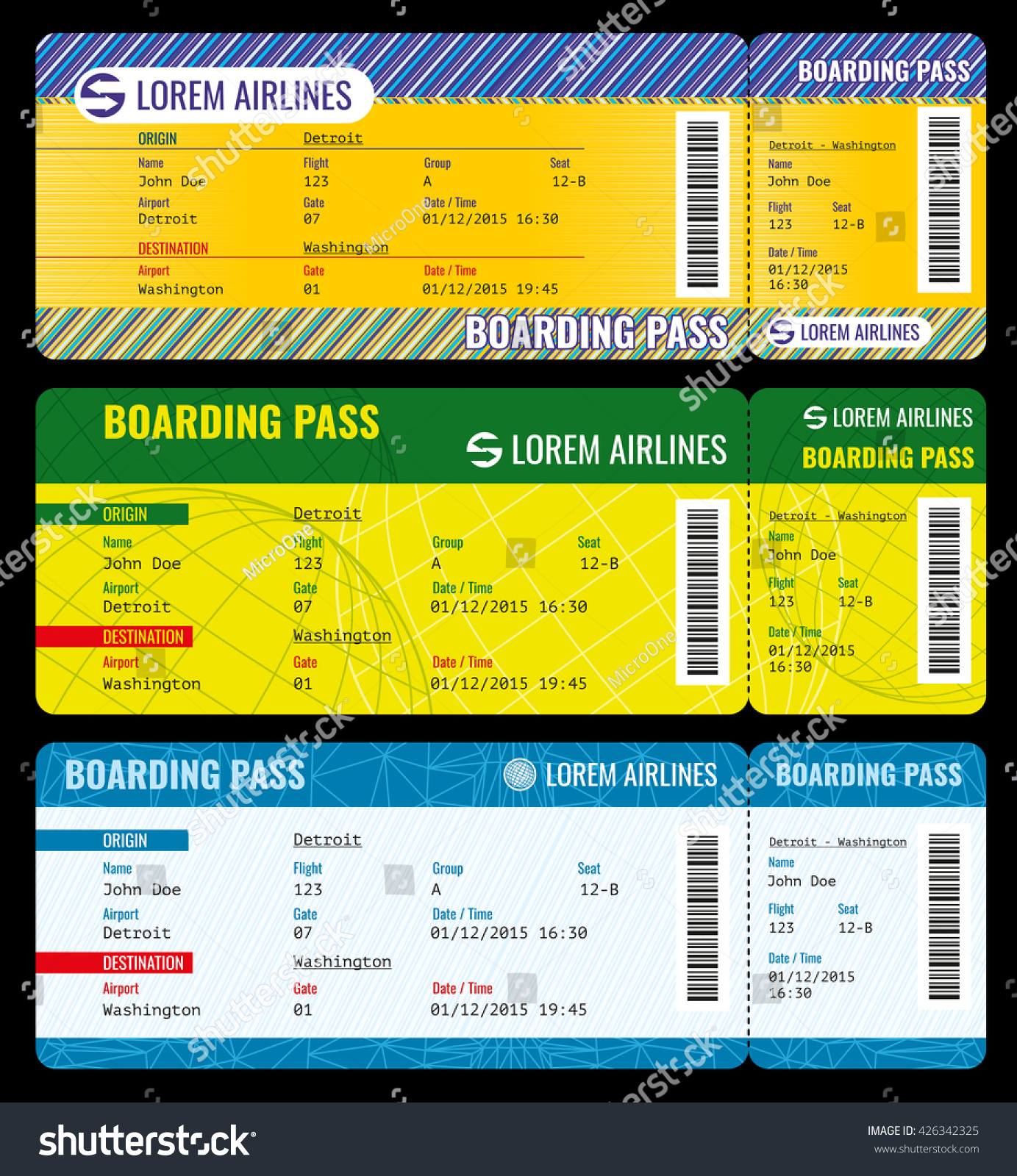 Airline Boarding Pass Modern Tickets Vector Vector 426342325 – Airline Ticket Template Word