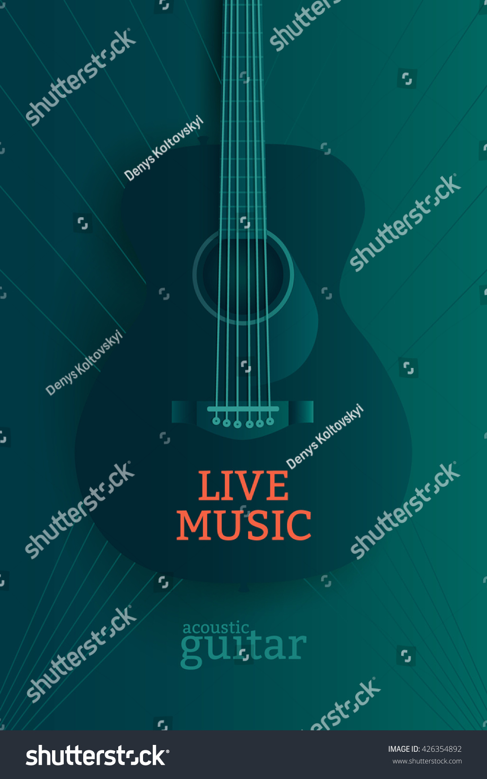 live music poster design template acoustic stock vector