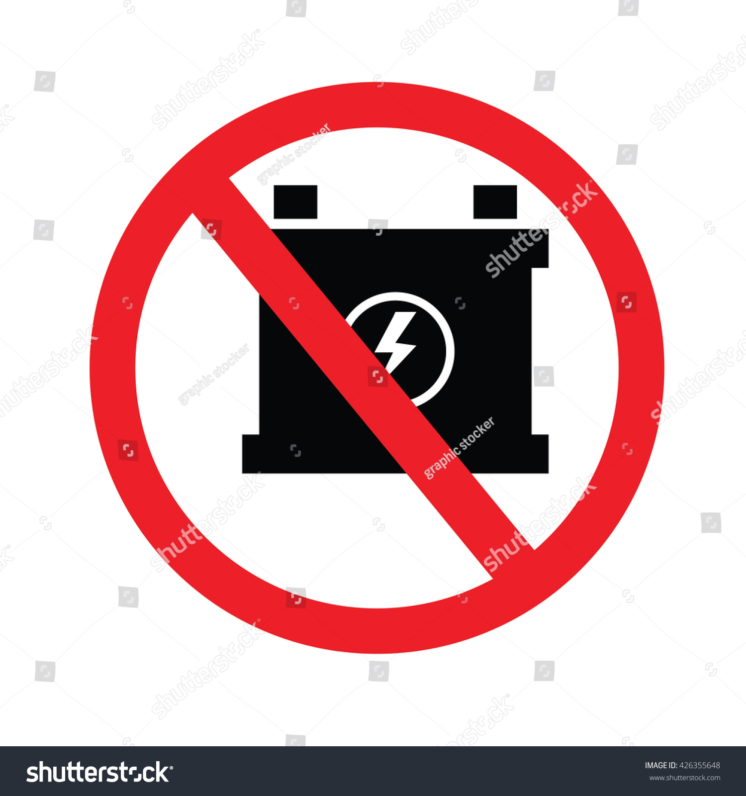Prohibit Sign No Car Battery Charging Stock Vector 426355648 ... for Car Battery Symbol  568zmd
