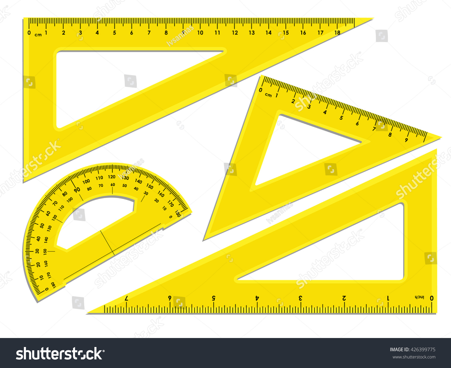 Triangle rulers protractor rulers marked centimeters stock vector triangle rulers and protractor rulers marked in centimeters and inches buycottarizona Image collections