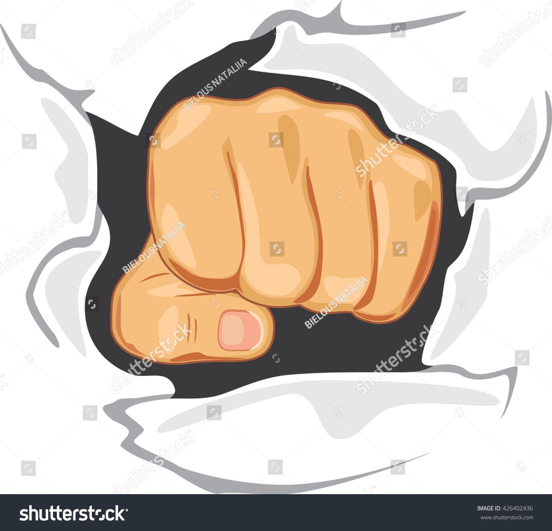 Fist Through Wall Determination Symbol Vector Stock Vector (Royalty ...