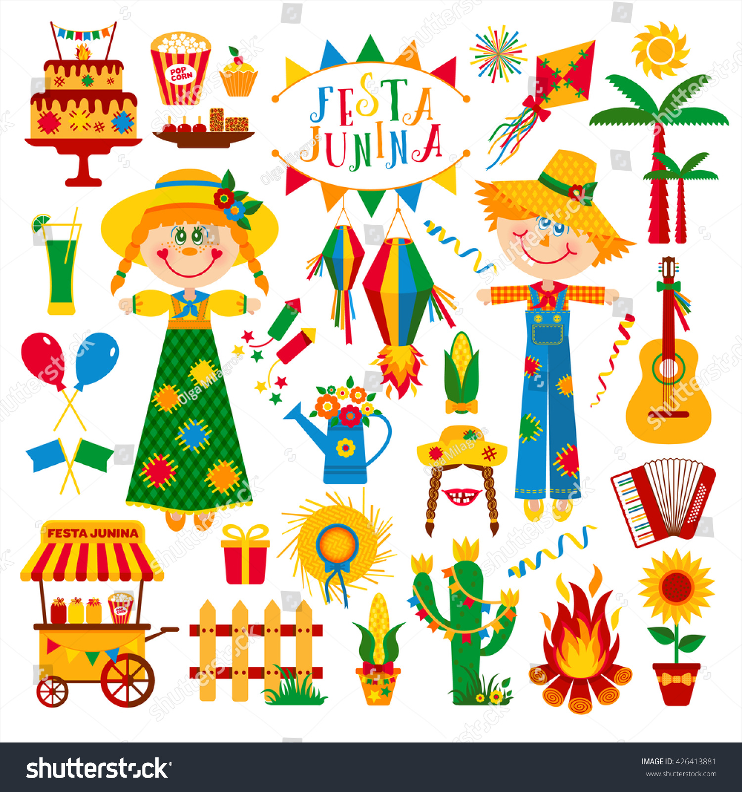 Festa Junina Village Festival Latin America Stock Vector