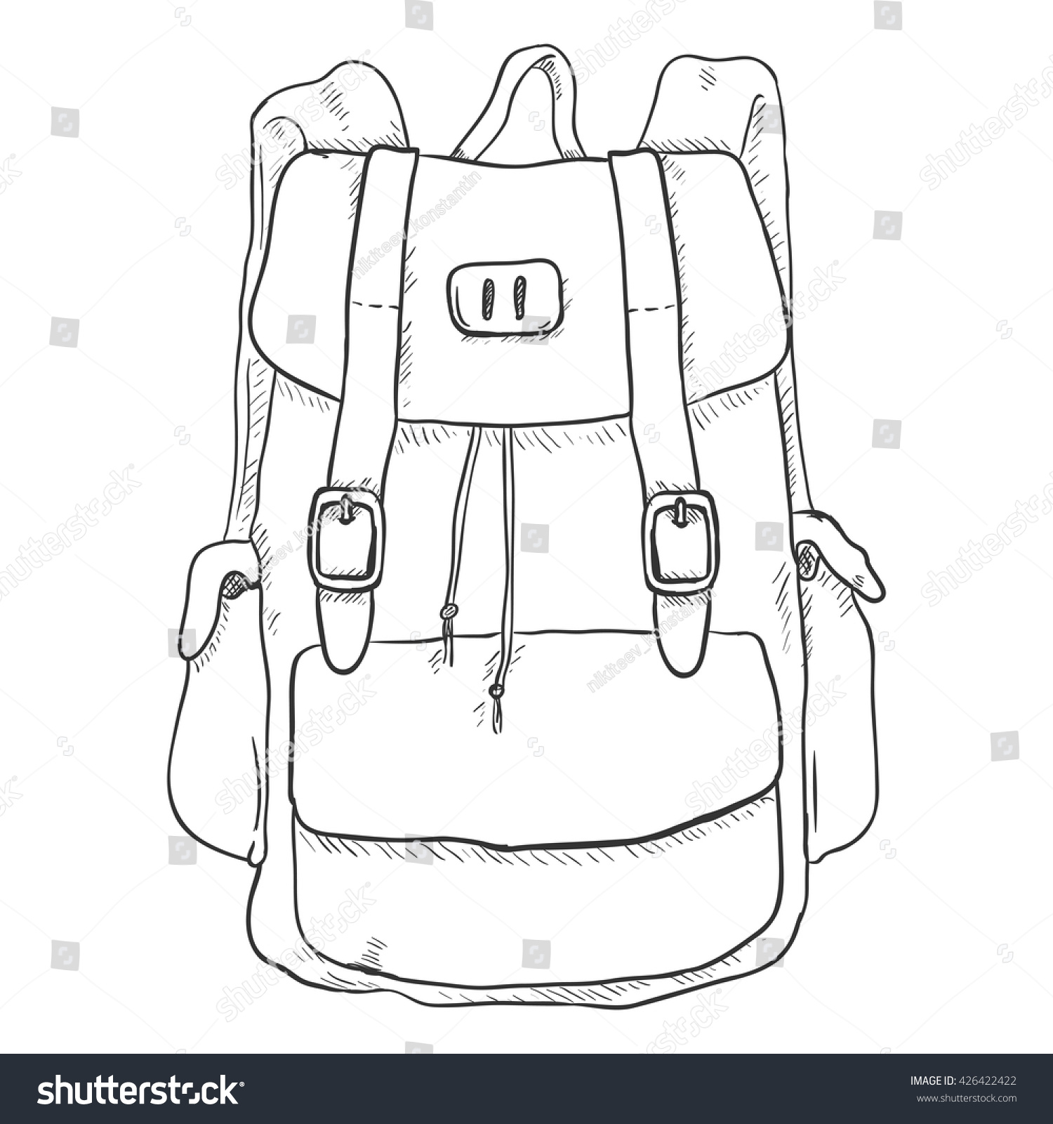 Vector Single Sketch Casual Backpack Isolated Stock Vector