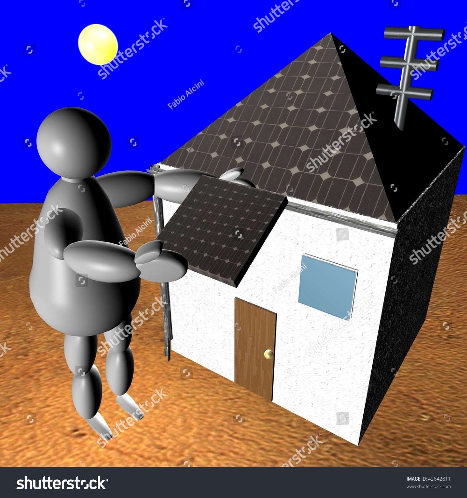 3D Puppet Putting Solar Panel On Rooftop Of His House