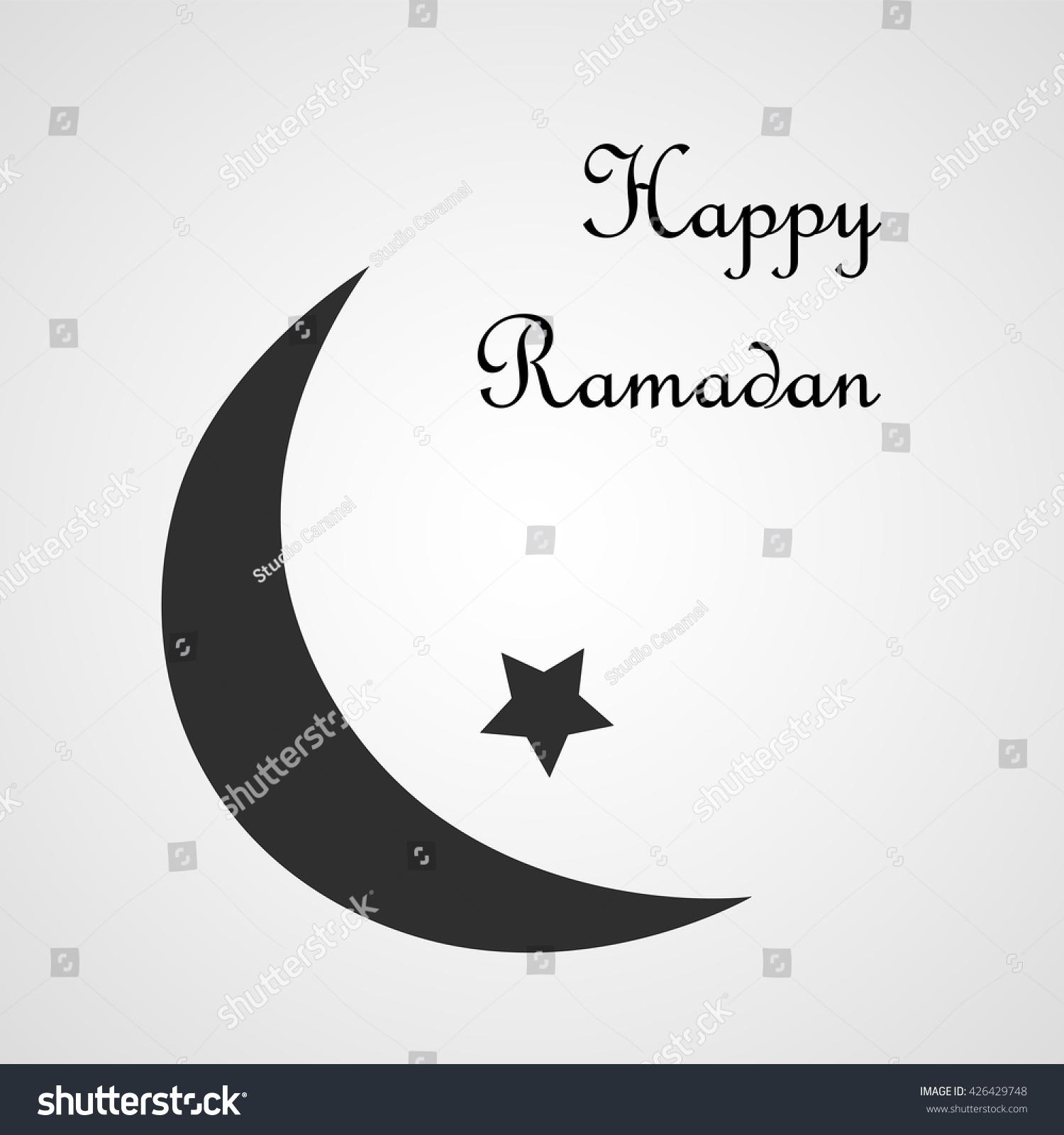 Happy ramadan postcard black crescent half stock vector 426429748 happy ramadan postcard with black crescent or half moon and a star isolated on white buycottarizona Choice Image
