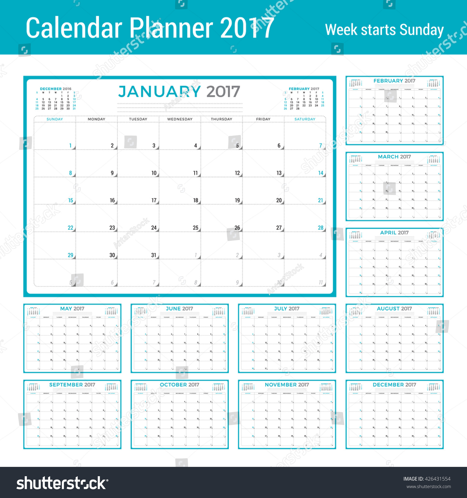 Weekly Calendar Vector : Calendar planner year vector design stock