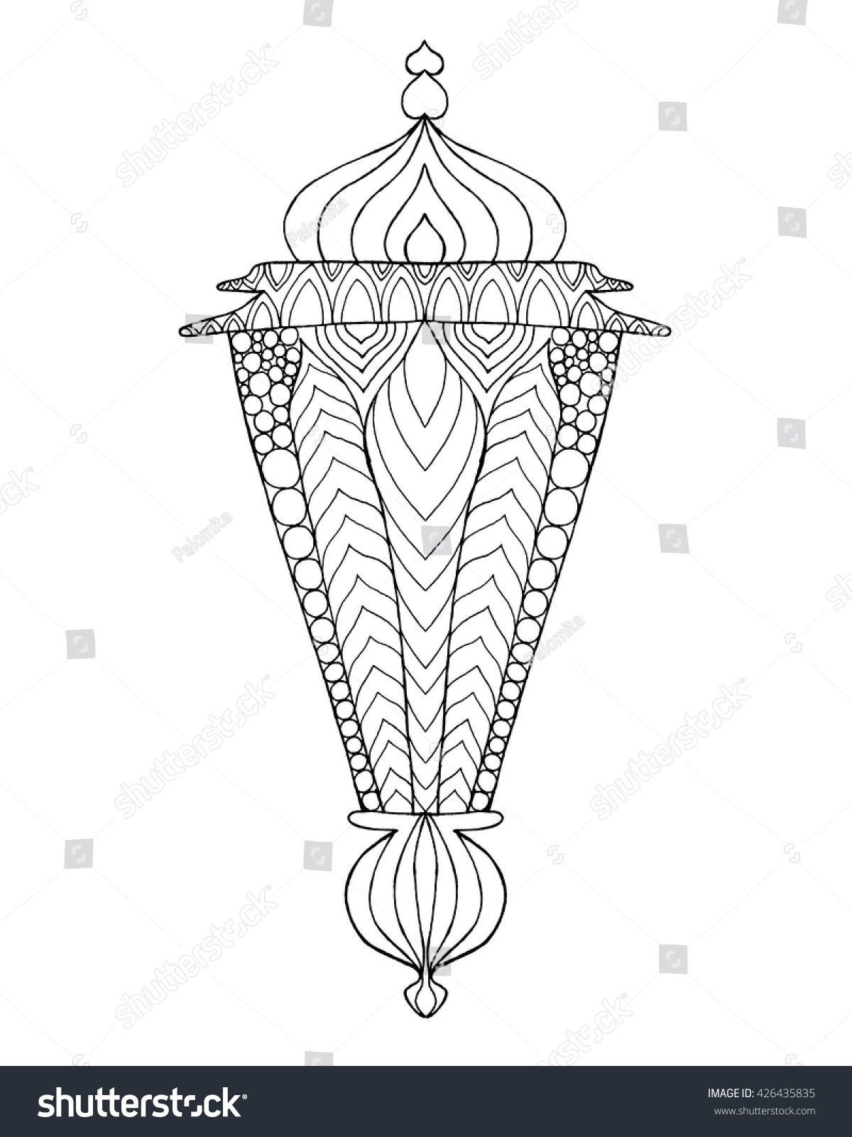 Coloring pages ramadan - Hand Drawn Traditional Lantern Of Ramadan Engraved Vector Illustration Sketch For Coloring Page