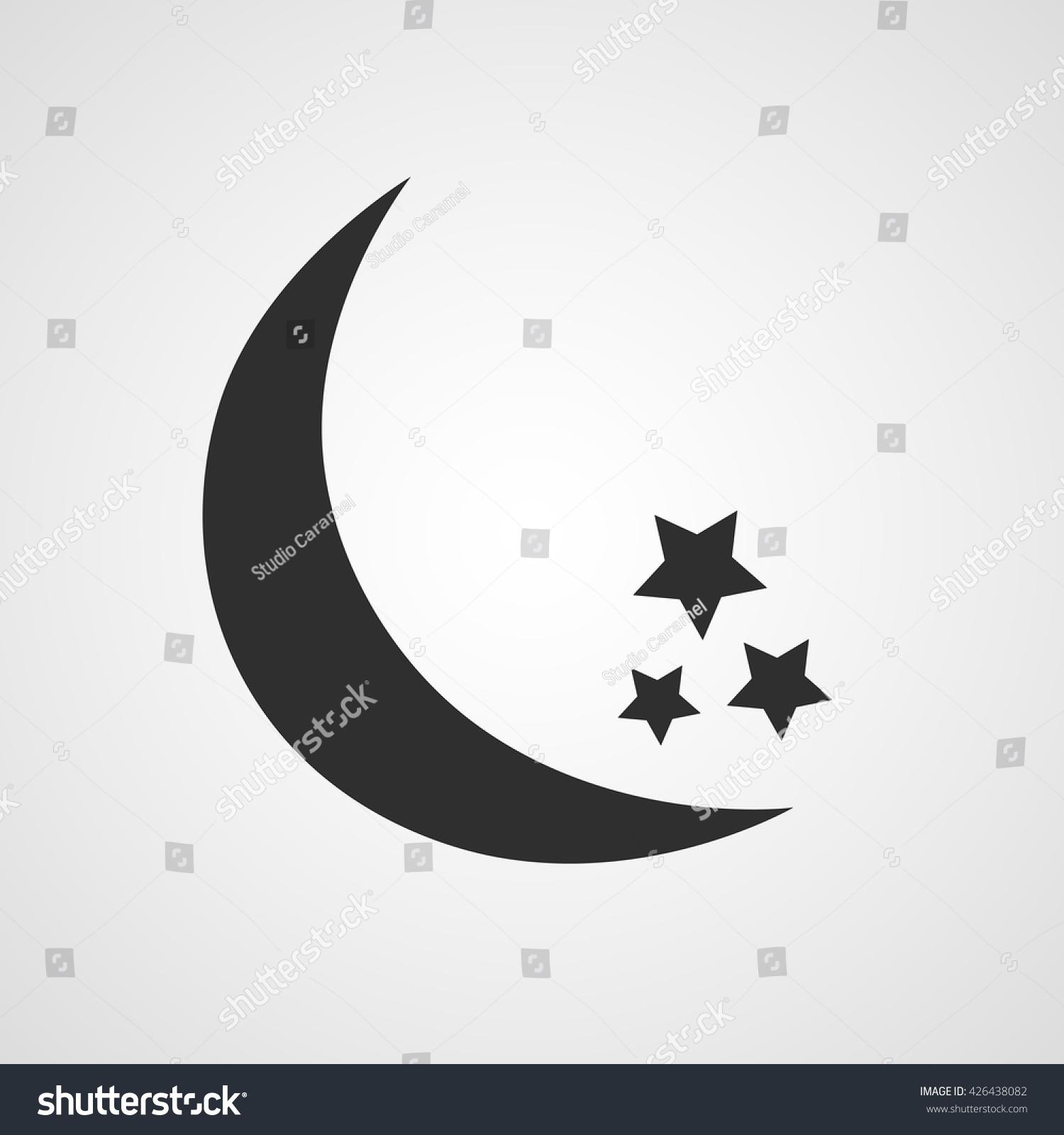 Black crescent half moon three stars stock vector 426438082 black crescent or half moon with three stars of different size on white background vector icon biocorpaavc