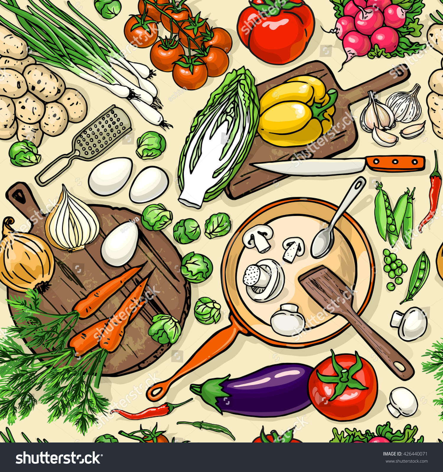 Vegetarian food recipes seamless pattern vegetables vectores en vegetarian food recipes seamless pattern with vegetables and kitchenware colorful top view cooking items background forumfinder Choice Image