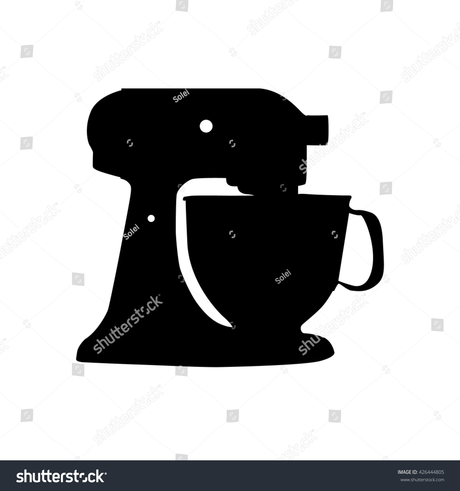 Hand Mixer Silhouette ~ Mixer with cup silhouette isolated stock vector