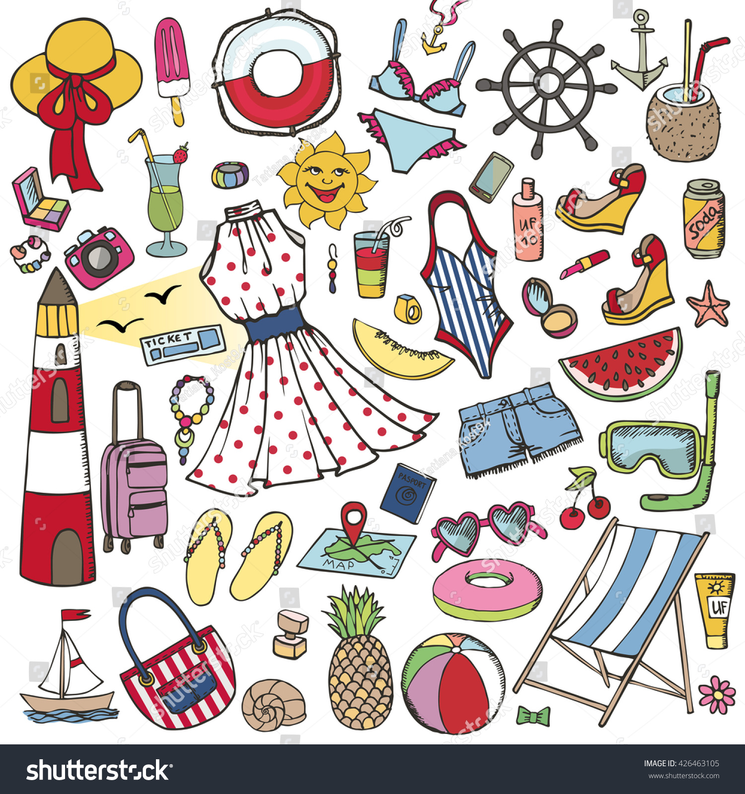 Vector Vintage Pop Art Beach Holiday Illustration Stock: Summer Vacation Doodlesvector Hand Drawing Fashion Stock