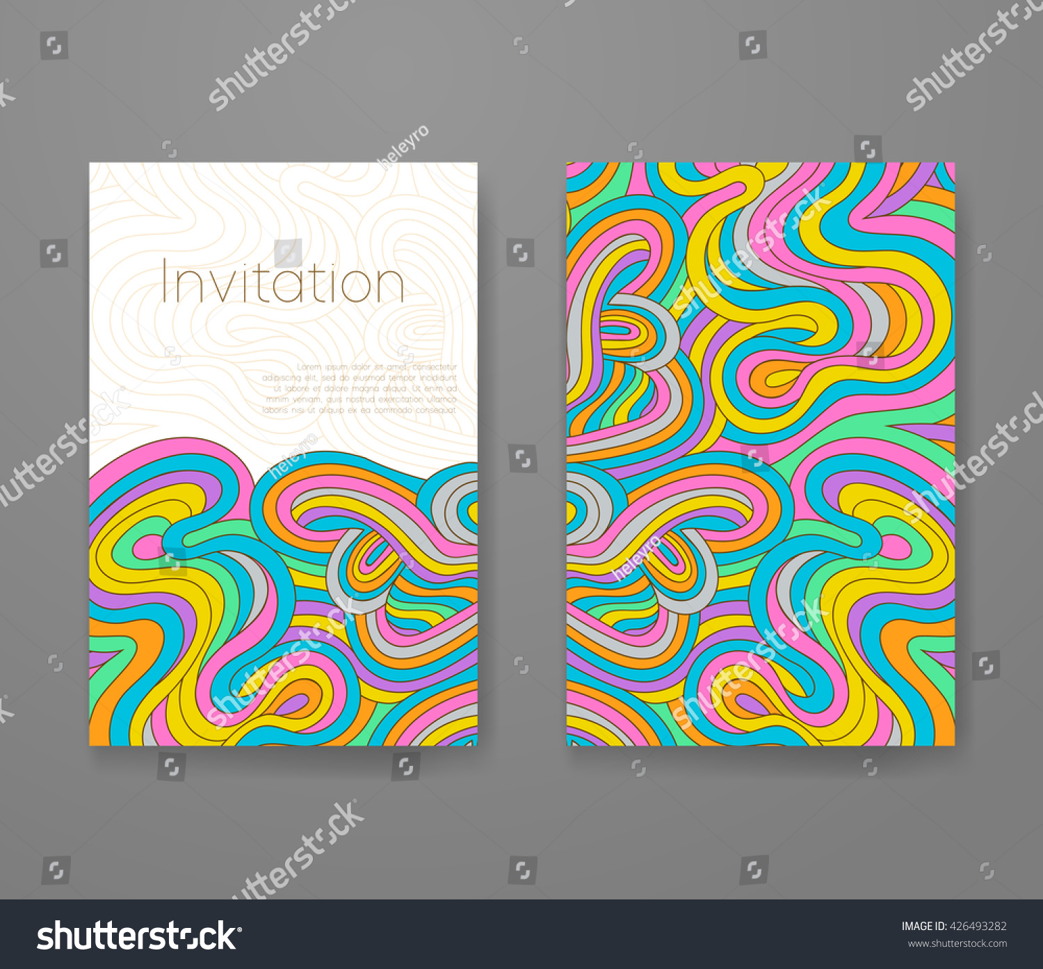 Business Card Vivid Lines Pattern Psychedelic Stock Photo (Photo ...