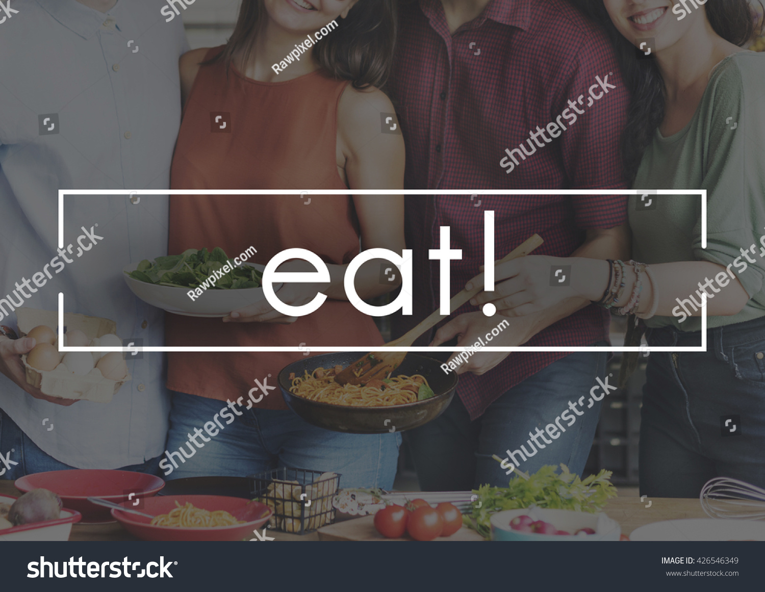 Eat Delicious Food Party Celebration Concept Stock Photo