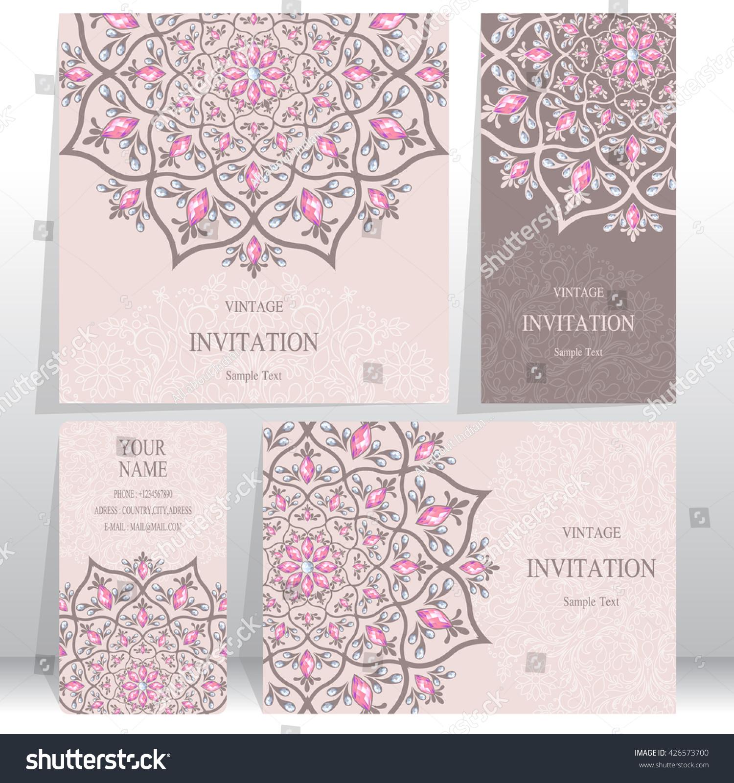 Set Wedding Invitation Cardsbusiness Cards Card Stock Vector ...