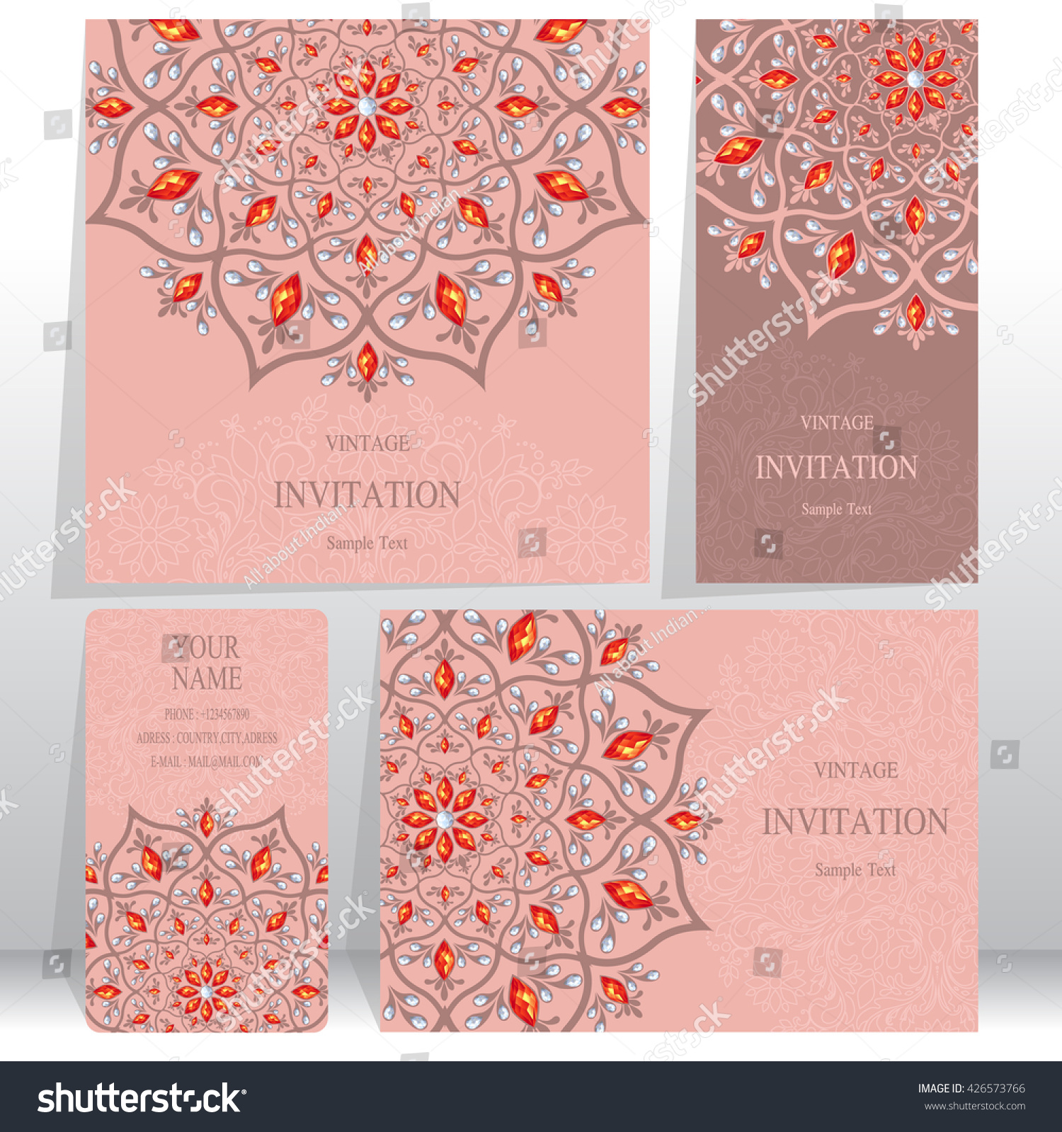 Set Wedding Invitation Cardsbusiness Cards Card Stock Vector ...