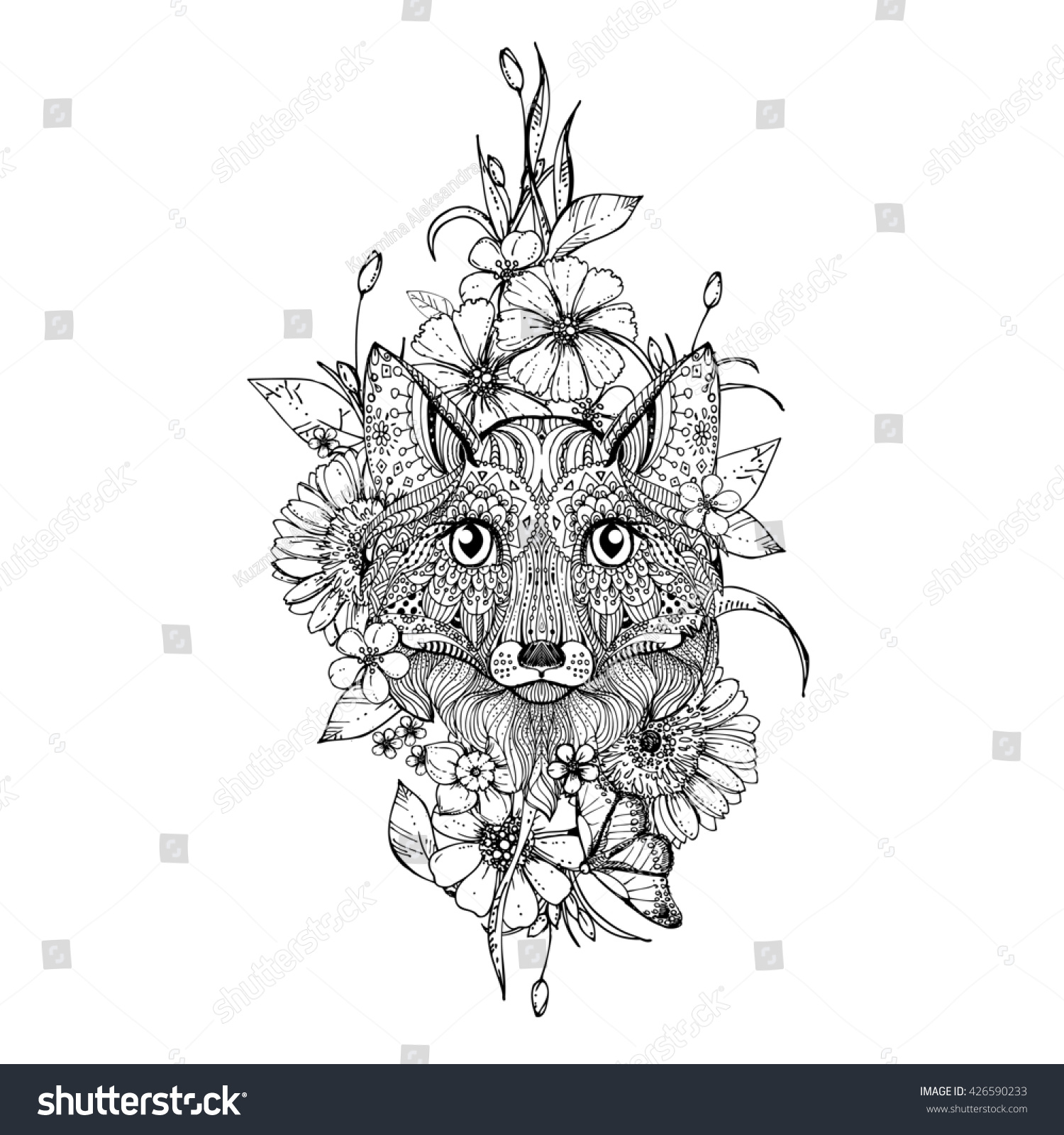 hand drawn ink doodle fox flowers stock illustration 426590233