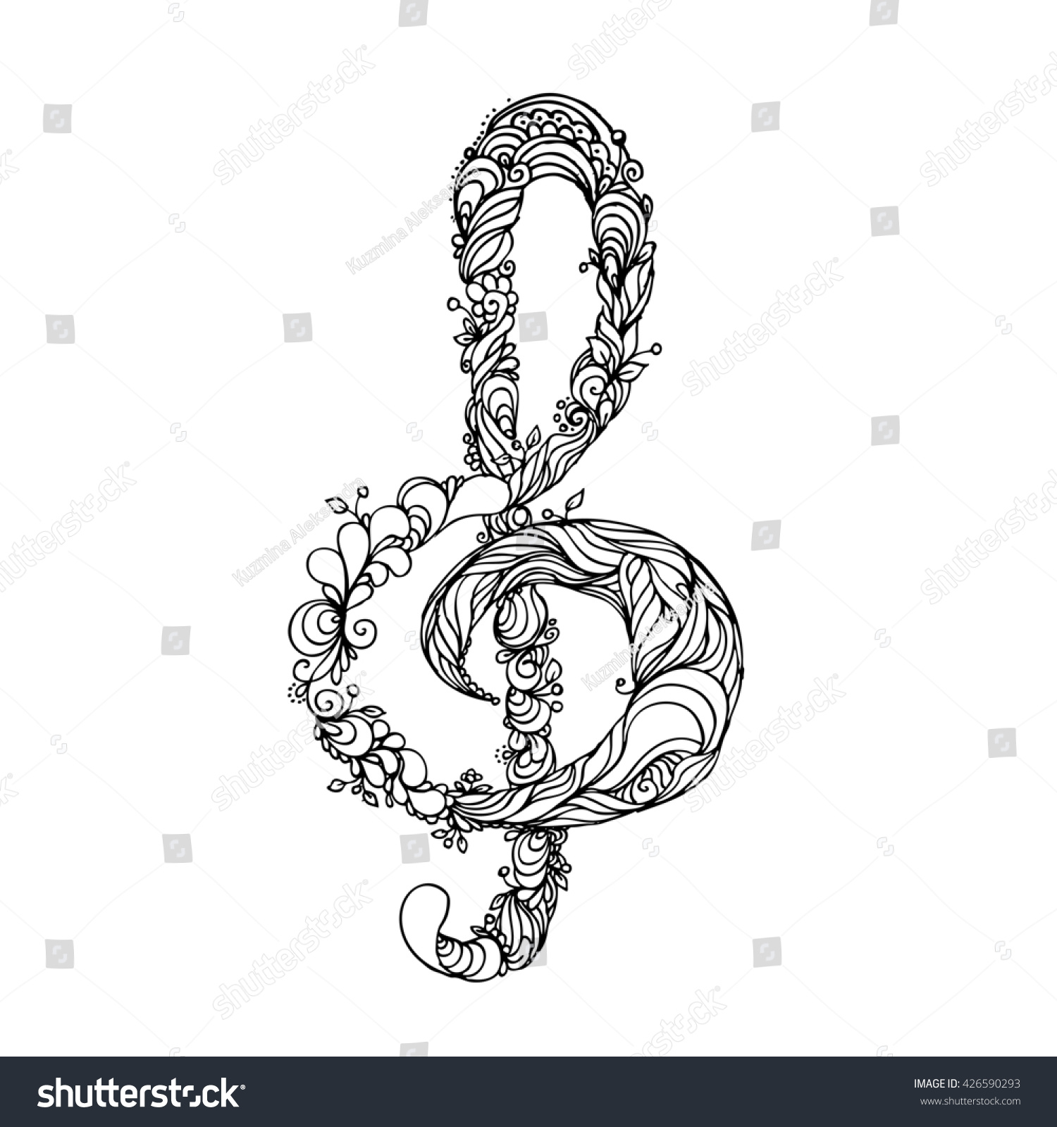 It's just a picture of Gutsy Treble Clef Coloring Page