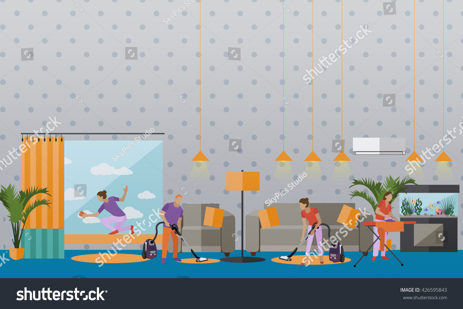 Cleaning Service Concept Vector Banner People Stock Vector 426595843 Shutterstock