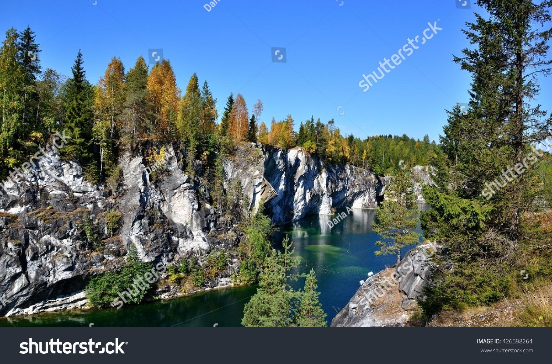 Quarry marble Ruskeala. Mountain Park Ruskeala. Marble quarry, Karelia