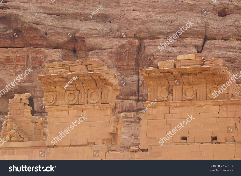 Stone carving remnants details in petra jordan stock photo